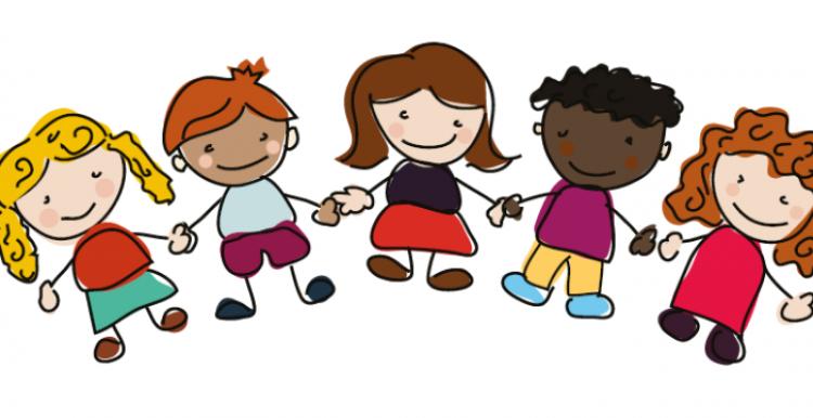 Cartoon Picture of children holding hands