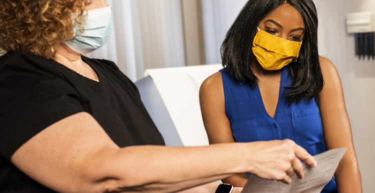 doctor and patient wearing face mask
