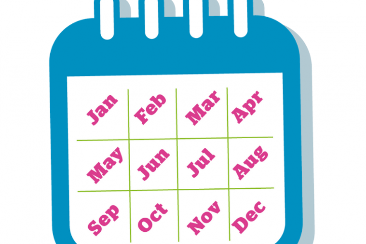 Calendar showing months of year