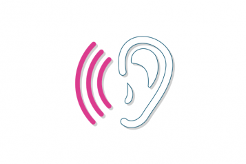 Ear graphic with three semi-circle pink lines representing sound