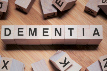 Lettered building blocks forming the work Dementia