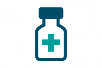 Medicine bottle with a cross on the front