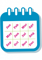 Calendar graphic showing the months of the year