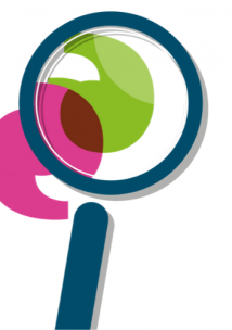 Magnify Glass with one pink and one green speech mark