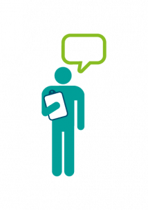 Graphic person with clipboard and speech bubble